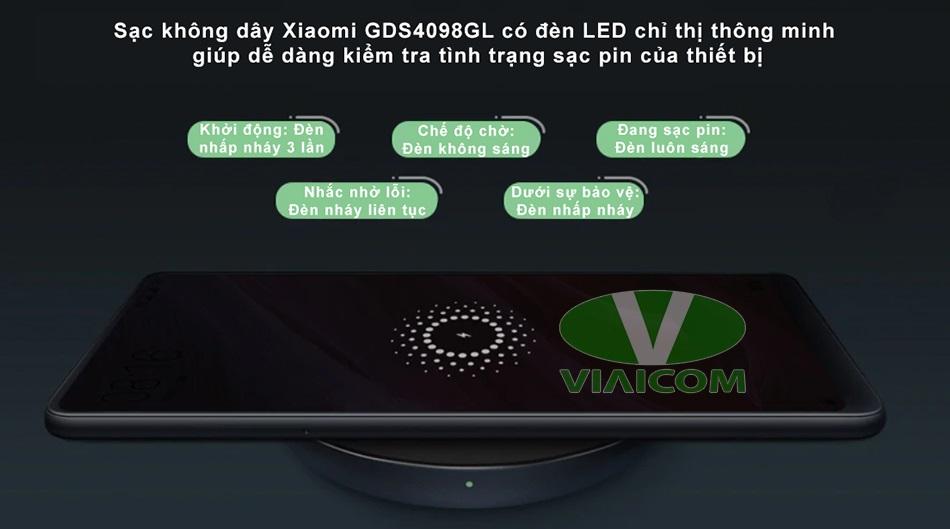 Sạc không dây Xiaomi GDS4098GL - Đèn LED chỉ thị thông minh