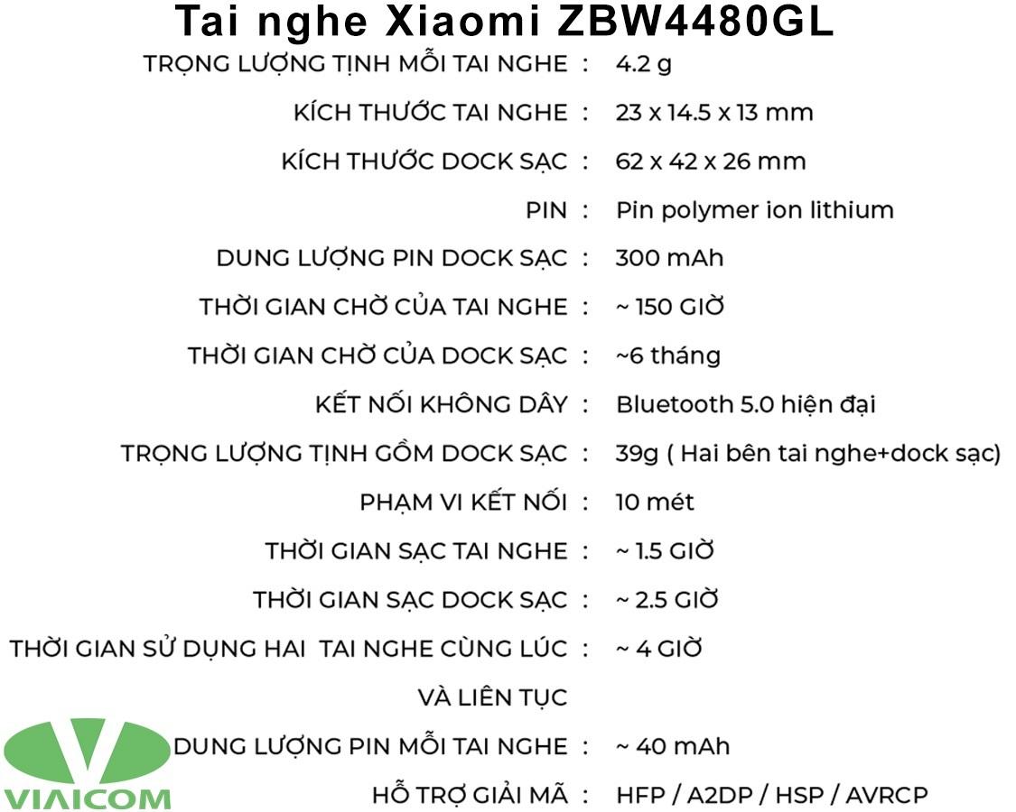 Tai nghe Xiaomi ZBW4480GL - Thông số kỹ thuật