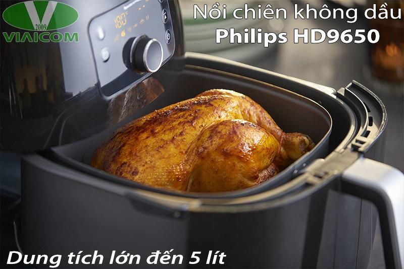 Nồi chiên không dầu Philips HD9650 - Dung tích lớn đến 5 lít