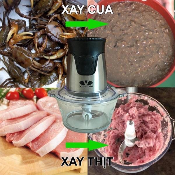 xay cua và xay thịt - Máy xay đa năng Viaicom V2A (4 trong 1- Cối thủy tinh)
