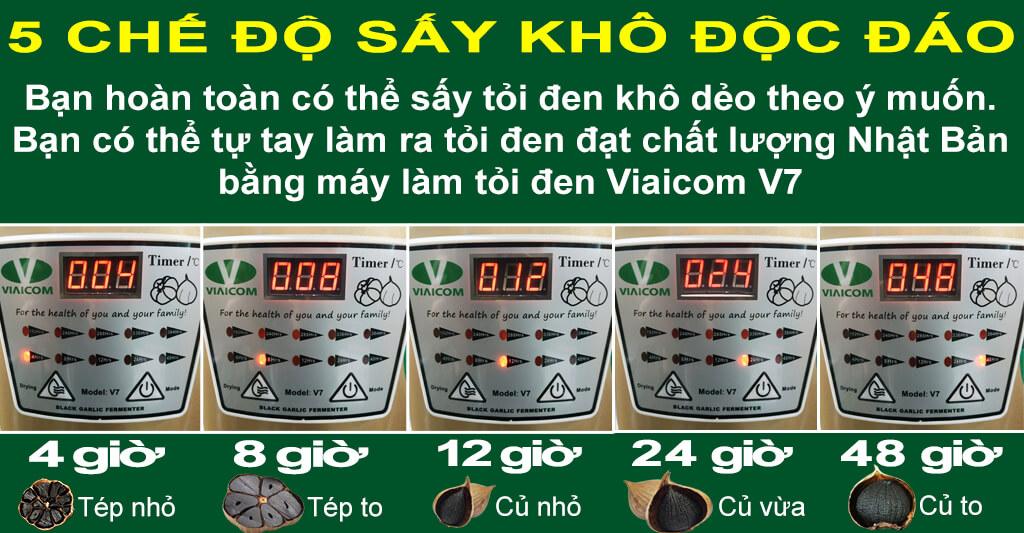 5 chế độ sấy thông minh của máy làm tỏi đen Viaicom V7